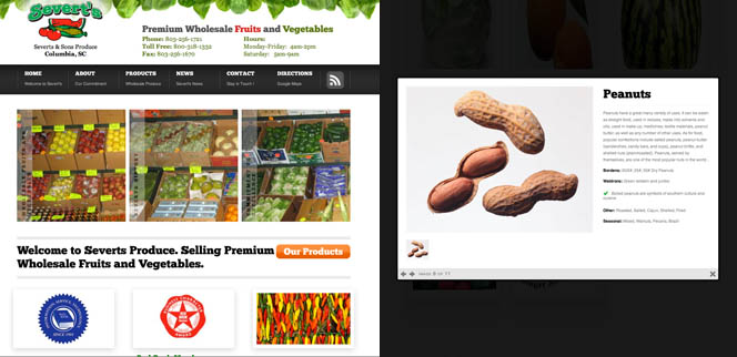 Severt and Son's Produce South Carolina Web Design